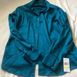 Teal button up dress shirt (tagged)